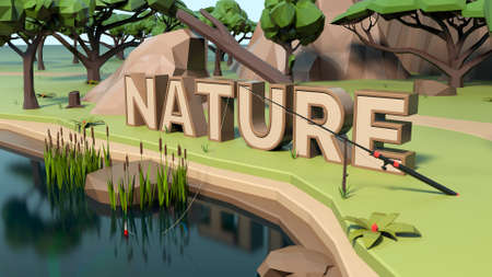 3D Nature Low poly land scene with popup trees and rocks. Stockfoto