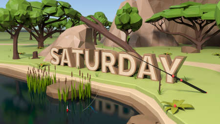 3D Low poly land scene with popup trees and rocks. Saturday