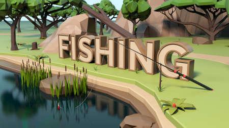 3D Low poly fishing land scene Stockfoto