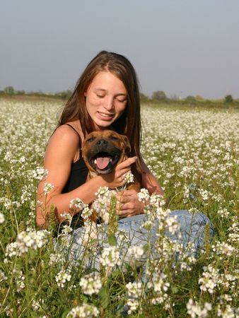 girl and staffie photo