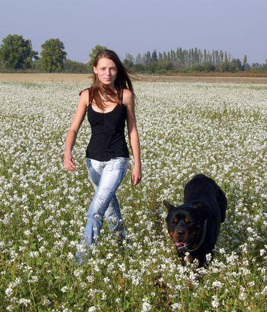 dog and teenager photo