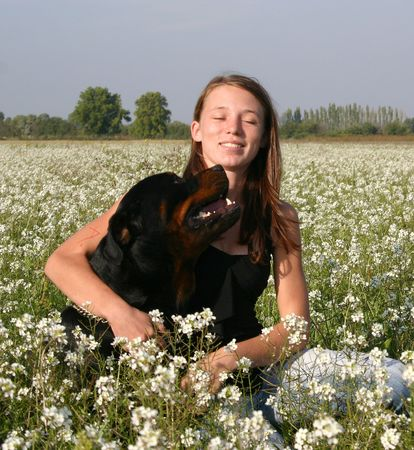 teen and large dog photo