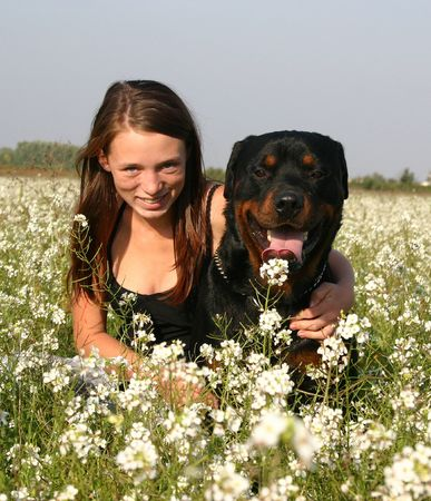 rottweiler and woman photo