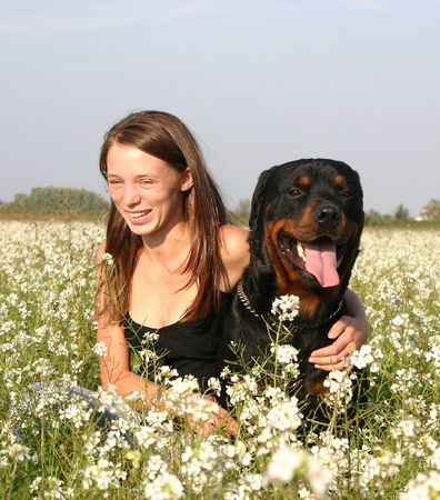 woman and her dog photo
