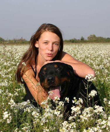 teen and dark dog photo