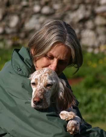 setter: woman and english setter Stock Photo