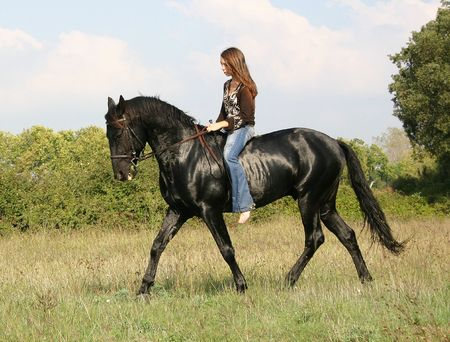 woman horse: teen and black horse