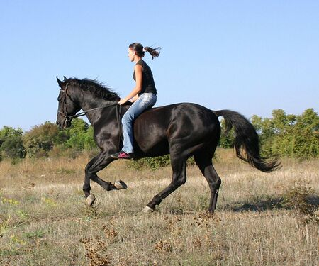 pony girl: riding teenager and her stallion Stock Photo