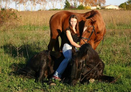 pony girl: teen and her two horses