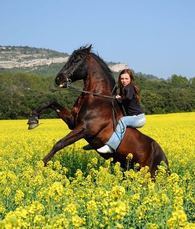 rearing stallion and sexy girl photo