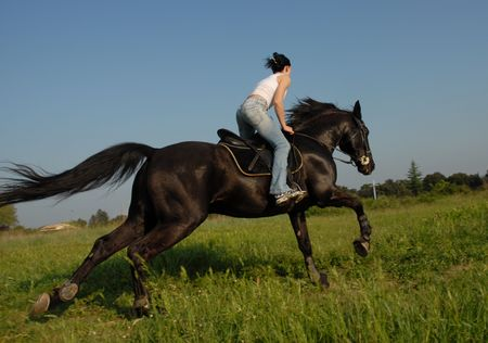 galloping teen and horse