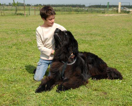 cane terranova: Terranova cane e bambino