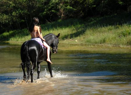 horse riding: horse and river