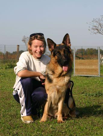 guar: woman and dog