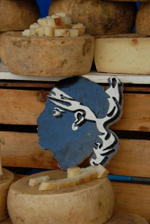 ewes: craft ewes cheeses in a market in corsica