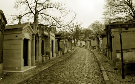 somber: Graveyard Pere Lachaise in paris, capital of France