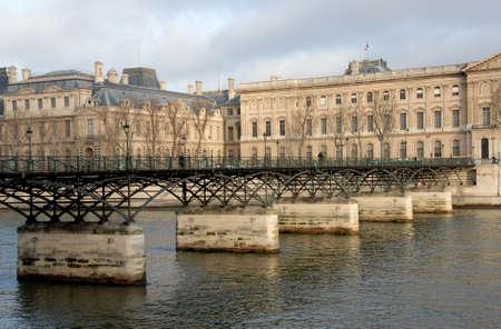 des: Pont des Arts, Paris, on the Seine River Stock Photo