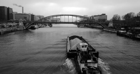 nautical structure: view of the Seine, in morning, Paris.  Stock Photo