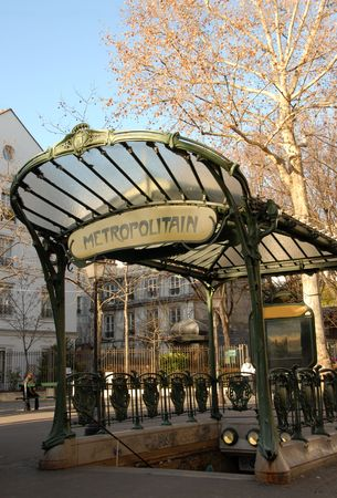 A Metro transportation entrance in paris, France, near Montmartre