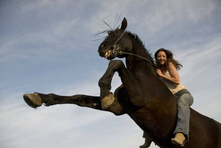 happy girl and rearing stallion in blue sky photo