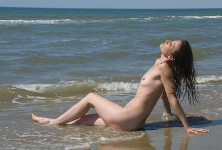 nudist woman on the beach in Camargues, France