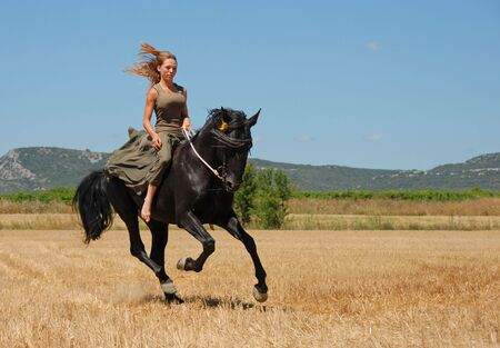 galloping: young woman and her black stallion in a field in summer