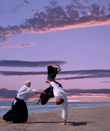 two adultes are training in aikido on a beach