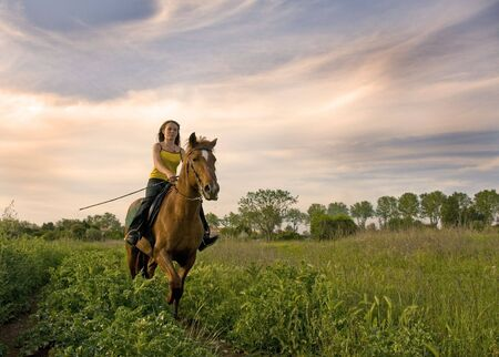light brown horse: riding teenager and her brown stallion in a field