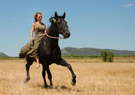 young woman and her black stallion in a meadow