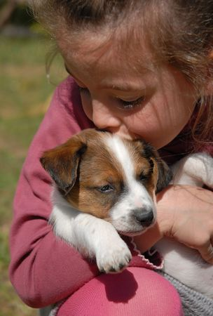 little girl and her puppy purebred jack russel terrier photo