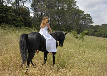 young woman in a wedding dress on a black stallion Stock Photo - 4793099