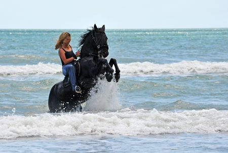 horse blonde: young woman on a rearing black stallion in the sea Stock Photo