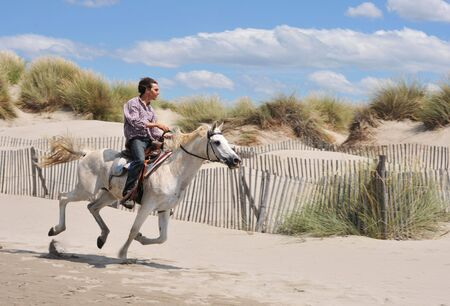 young man and his white horse galloping on the beach photo