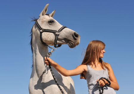 young teenager and her gray arabian horse looking in the same direction photo