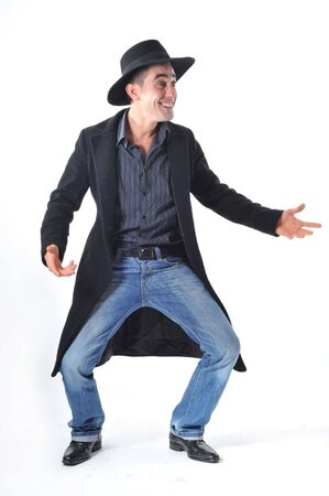 humoristic: smiling young man with and black hat