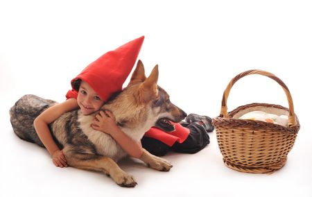 riding wolf: Little Red Riding Hood and her friend wolf