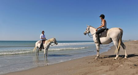 a father and his daughter with their horses in holidays photo
