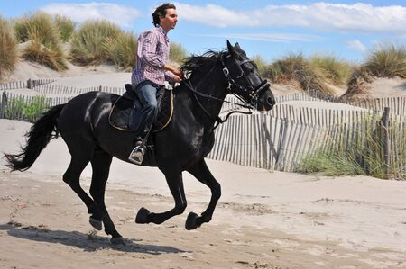 galloping black stallion and his rider on the beach photo