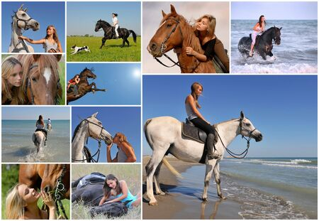composite image with young woman and her best friend horse