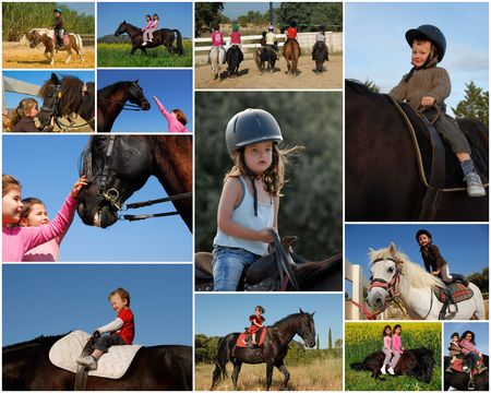 riding children and their ponies or horses in the nature