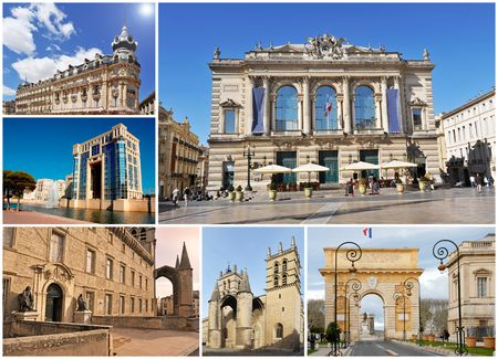 roussillon: composite image with monuments in Montpellier, Languedoc Roussillon, France