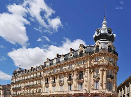 roussillon: french architecture with Haussmann apartments in Montpellier, Languedoc Roussillon Stock Photo