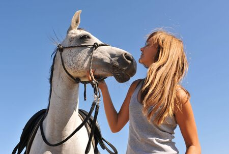 grey horses: young girl and her best friend arabian horse