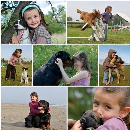 rottweiler: little girls and her purebred dogs outdoors