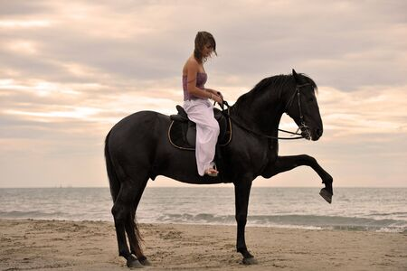 beautiful black stallion on the beach with young woman photo