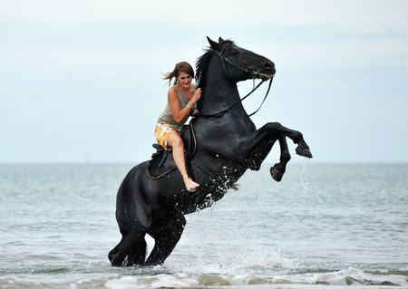 young woman and her beautiful black stallion rearing up in the sea photo