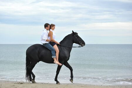 teen beach: beautiful black stallion on the beach with young couple