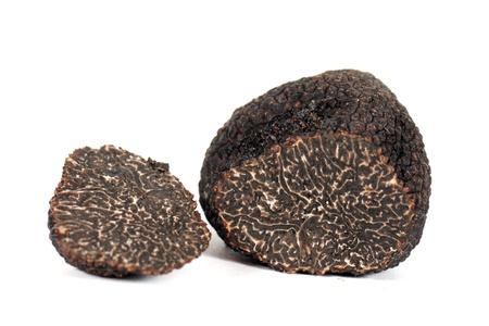 black truffles (tuber melanosporum) in front of a white background Stock Photo