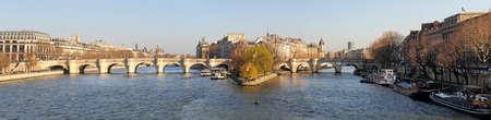 ile de la cite: France, Paris, panoramic view of river Seine and Ile de la Cite