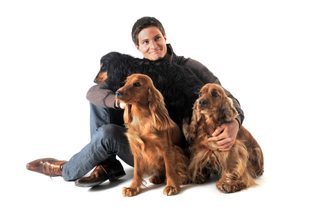 portrait of a  purebred english cockers and man in a studio Stock Photo - 9206660